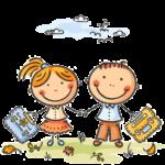 Kluk a holka s aktovkami jdou do školy