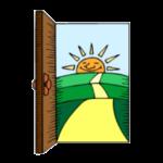 sluníčko a cesta za otevřenými dveřmi