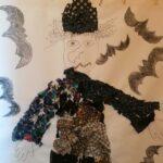 textilní koláž čarodějnice