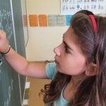 žákyně počítá u tabule